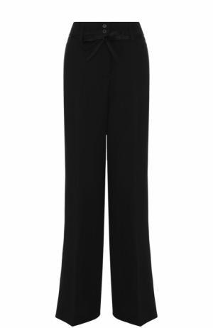 Расклешенные шерстяные брюки с поясом Ann Demeulemeester. Цвет: черный