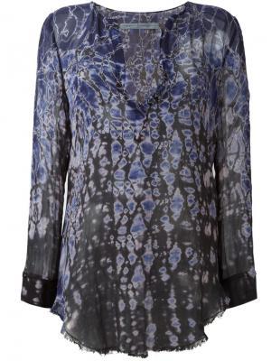 Блузка с абстрактным принтом Raquel Allegra. Цвет: синий