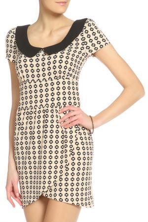 Повседневное платье со свободным стилем Denny Rose. Цвет: черный, бежевый