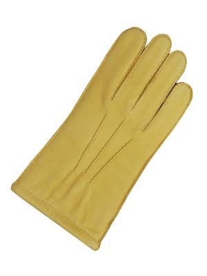 Кожаные перчатки ESMEE. Цвет: горчичный, светло-коричневый, светло-бежевый