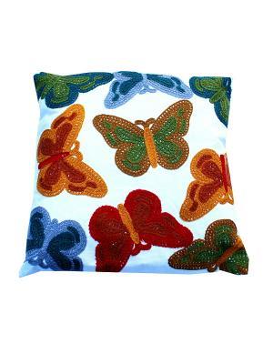 Декоративная подушка 45х45 Бабочки La Pastel. Цвет: белый, красный, салатовый, синий