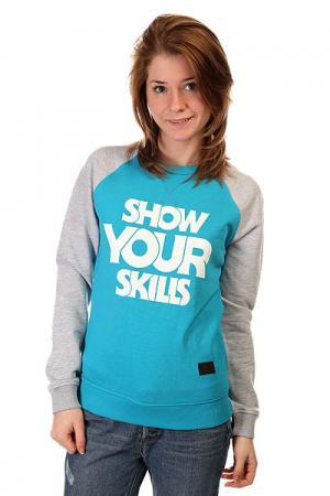Толстовка свитшот женская  Show You Crewneck Turquoise/Grey Melange Skills. Цвет: серый,голубой