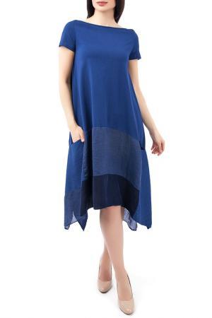 Асимметричное платье с короткими рукавами EUROPEAN CULTURE. Цвет: синий
