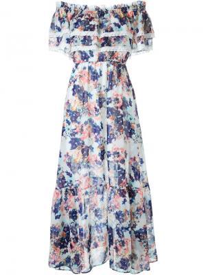 Платье макси с цветочным принтом Guild Prime. Цвет: синий