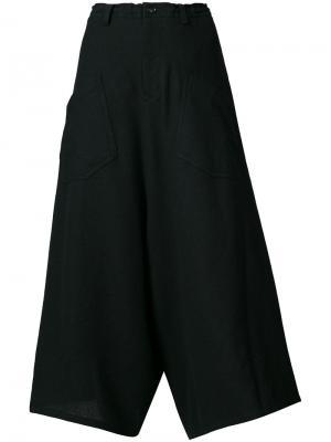 Укороченные расклешенные брюки Ys Y's. Цвет: чёрный