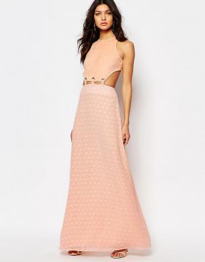 Foxiedox Платье макси с вырезом и шнуровкой Lucilla. Цвет: розовый