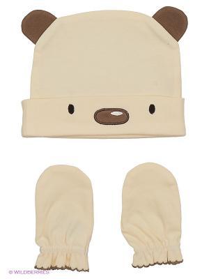 Комплект из шапочки и рукавичек HappyBabyDays. Цвет: коричневый, бежевый
