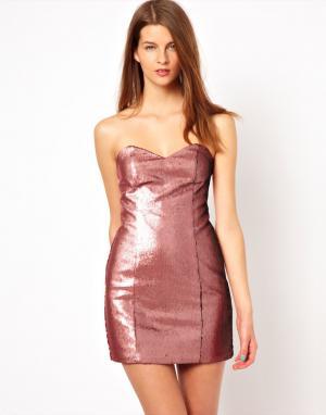 Платье с блестящей отделкой  Sweetheart Naven. Цвет: punk pink