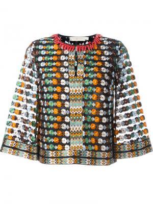 Блузка с цветочной вышивкой Tory Burch. Цвет: многоцветный