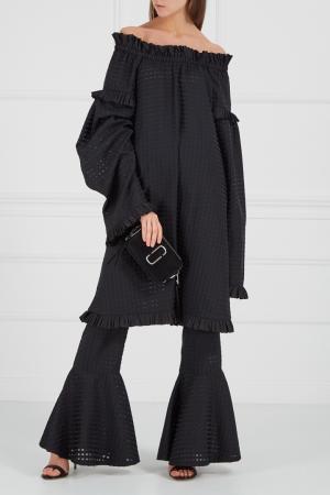 Шелковые брюки с воланами по низу IVKA. Цвет: черный