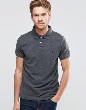 Jack Wills Серая футболка-поло c логотипом в виде фазана. Цвет: серый