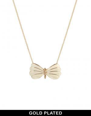 Позолоченное ожерелье с эмалированной бабочкой And Mary. Цвет: белый