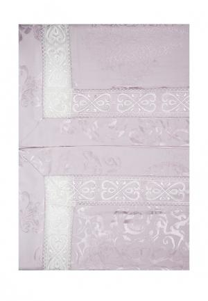 Комплект постельного белья Евро Asabella. Цвет: розовый