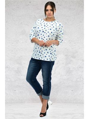Блуза Мари-лайн. Цвет: белый, темно-синий, голубой