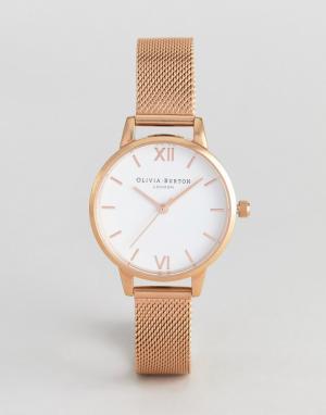 Olivia Burton Часы цвета розового золота с сетчатым ремешком OB16MDW01. Цвет: золотой