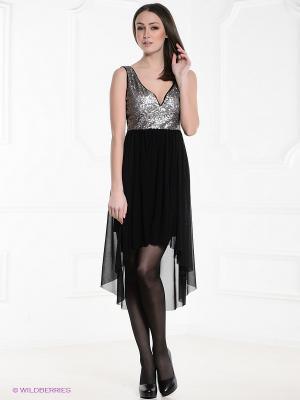 Платье FOREVER18. Цвет: черный, серебристый