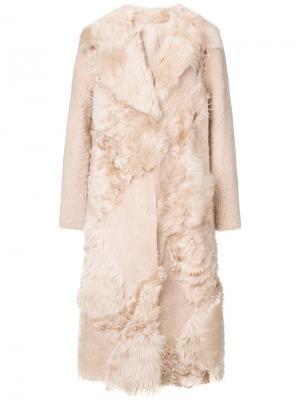 Пальто длины миди с меховой отделкой Drome. Цвет: телесный