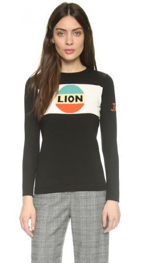 Свитер Lion в полоску Bella Freud. Цвет: голубой