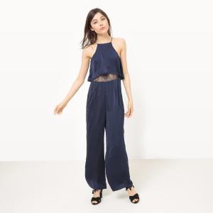 Комбинезон с широкими брюками, кружевной верх MOLLY BRACKEN. Цвет: темно-синий