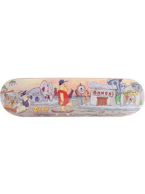 Профессиональный скейтборд Флин Юнион скейтборды. Цвет: светло-серый, красный