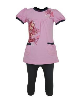 Комплект для девочек Милослава. Цвет: темно-серый, розовый