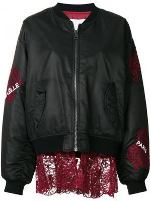Куртка-бомбер с аппликациями Gaelle Bonheur. Цвет: чёрный