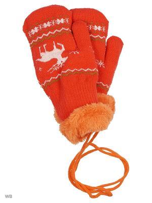 Варежки Mini. Цвет: оранжевый, белый