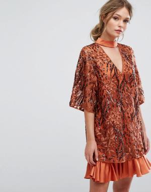 Three Floor Платье с вышивкой и рукавами-кимоно. Цвет: оранжевый