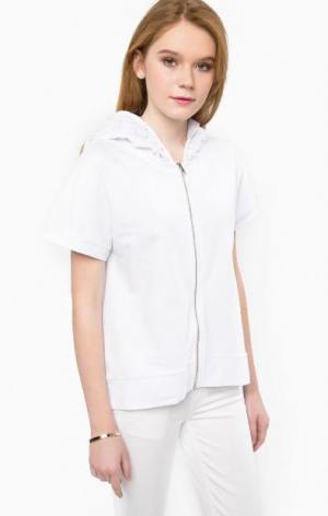 Хлопковая толстовка с короткими рукавами Liu Jo Jeans. Цвет: белый