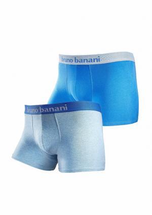 Боксерские трусы, 2 штуки BRUNO BANANI. Цвет: синий меланжевый/синий