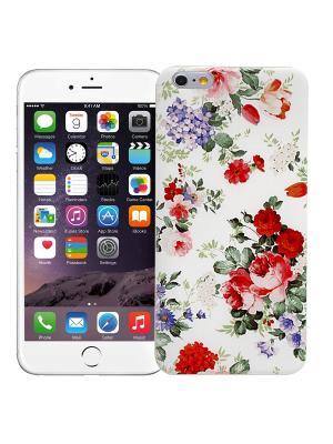 Чехол для iPhone 6+ Цветочный (белый) Kawaii Factory. Цвет: красный, белый