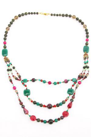 Колье Lascela. Цвет: зеленый, розовый, красный