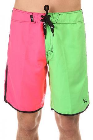 Шорты пляжные  Hot Pocket Pink/Green Lost. Цвет: розовый,зеленый