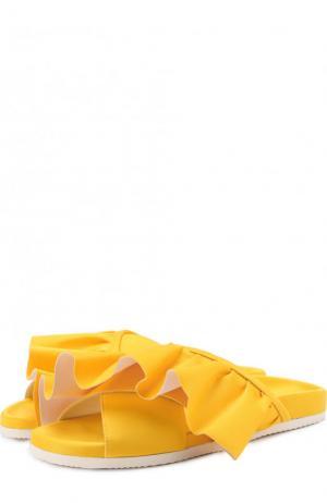 Текстильные шлепанцы Ruffle с оборками Joshua Sanders. Цвет: желтый