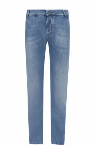 Джинсы прямого кроя с потертостями 2 Men Jeans. Цвет: синий