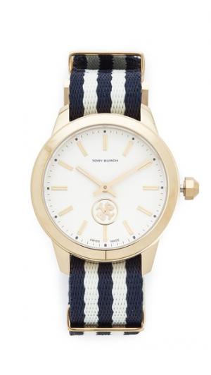 Часы Collins с ремешком в крупный рубчик Tory Burch