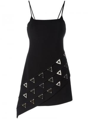 Приталенное платье с заклепками David Koma. Цвет: чёрный