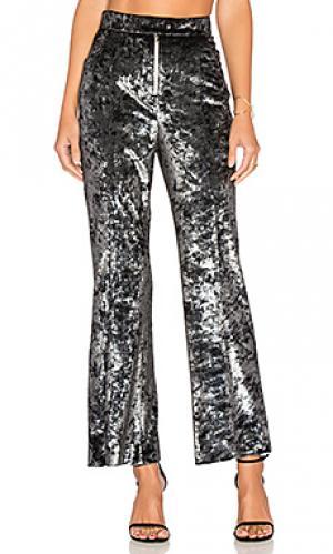 Вельветовые расклешенные брюки Frankie. Цвет: металлический серебряный