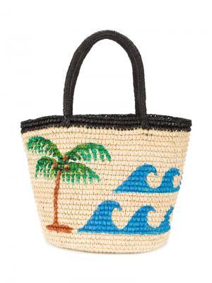 Плетеная сумка vamos a la playa Sensi Studio. Цвет: телесный