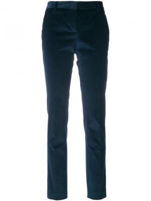 Классические бархатные брюки Tonello. Цвет: синий