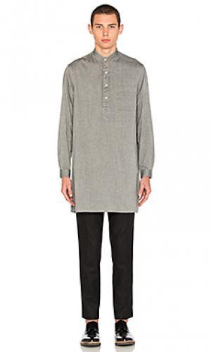 Рубашка на пуговицах из японской фланели с принтом мини кость Gitman Vintage. Цвет: серый