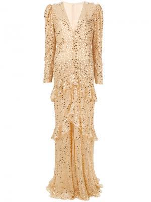 Платье с длинными рукавами и отделкой пайетками Alessandra Rich. Цвет: телесный