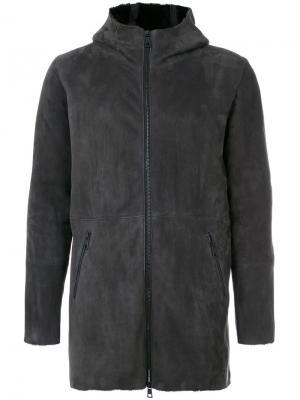Панельное пальто с капюшоном Giorgio Brato. Цвет: серый