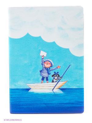 Обложка для автодокументов Мальчик и собака в лодке Mitya Veselkov. Цвет: голубой