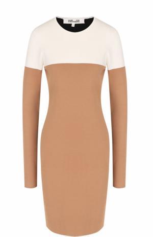 Приталенное мини-платье с длинным рукавом Diane Von Furstenberg. Цвет: бежевый