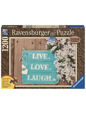 Пазл Живи, люби, смейся 1200шт, с деревянным покрытием Ravensburger. Цвет: синий