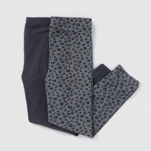 Комплект из 2 леггинсов длинных, для 3-12 лет R édition. Цвет: черный + леопард