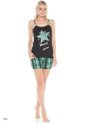 Костюм домашний (шорты+футболка) Dorothy's Home. Цвет: черный, белый, зеленый