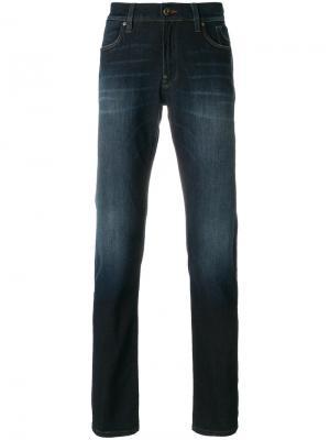 Облегающие джинсы с легкими потертостями Jeckerson. Цвет: синий