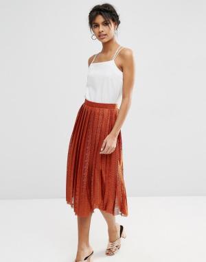 ASOS Плиссированная кружевная юбка миди. Цвет: оранжевый